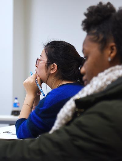 Adelphi social work undergrads in classroom