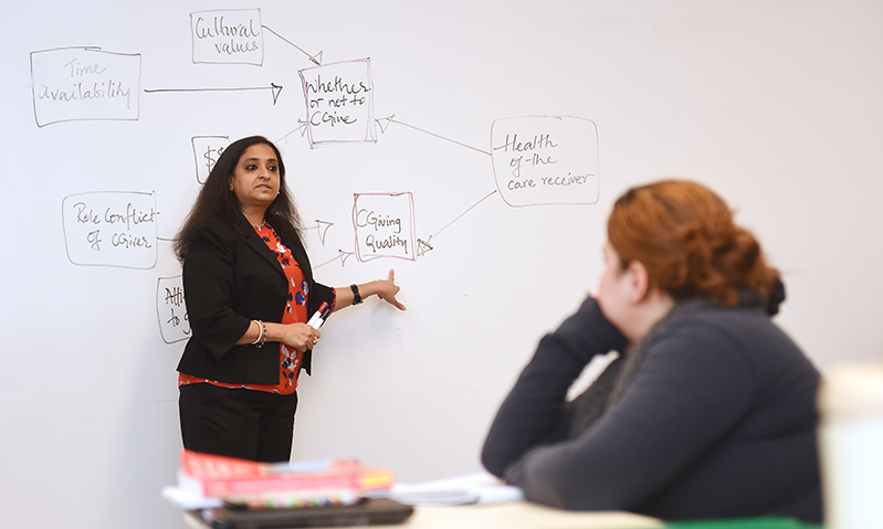Subadra Panchanadeswaran teaching social work course at Adelphi in front of whiteboard